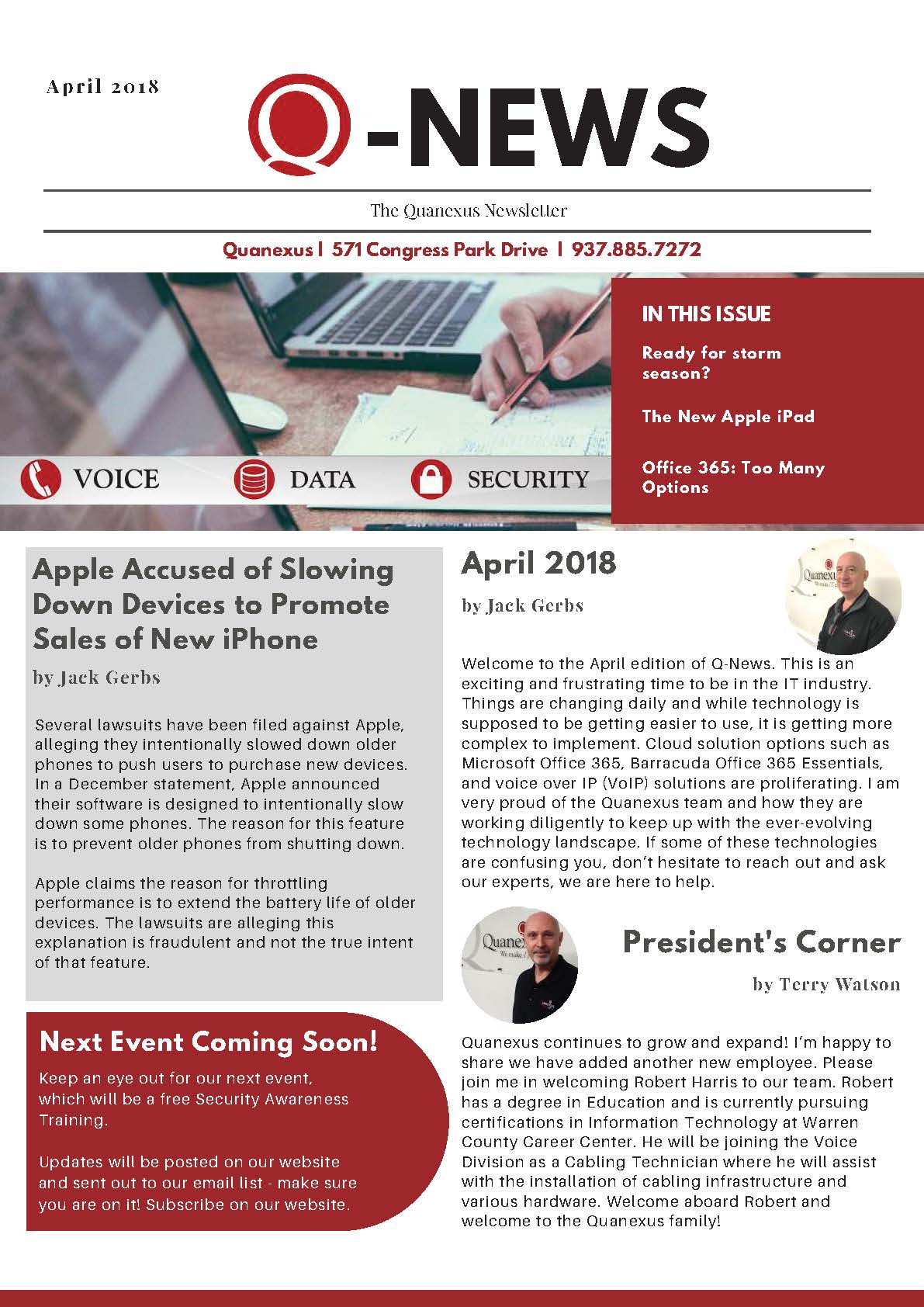 Q News April 2018 Newsletter Page 1